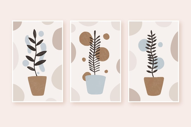 Abstract hand drawn shapes covers set Premium Vector