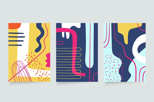 Abstract hand drawn shapes covers set