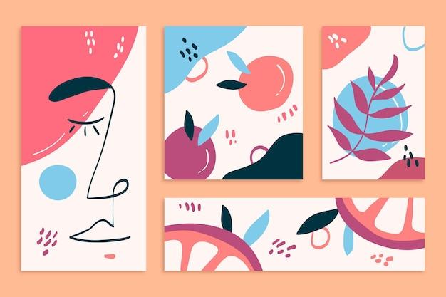 抽象的な手描きの形状カバーセット