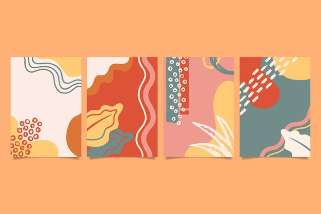 Abstract hand drawn shapes covers Premium Vector