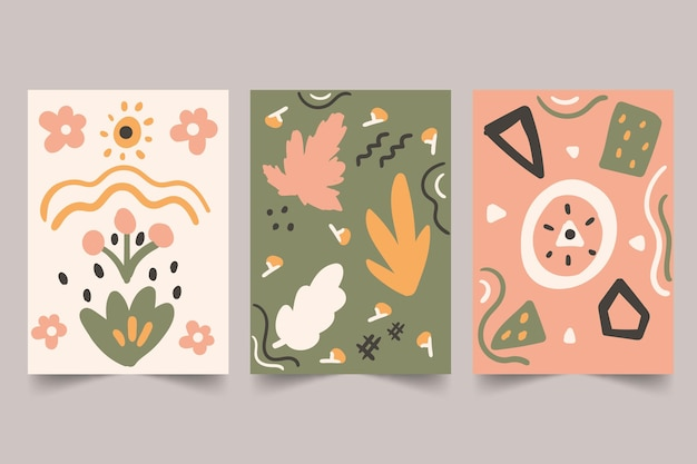 Abstract hand drawn shapes covers Free Vector