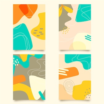 抽象的な手描きの図形テンプレートカバーパック