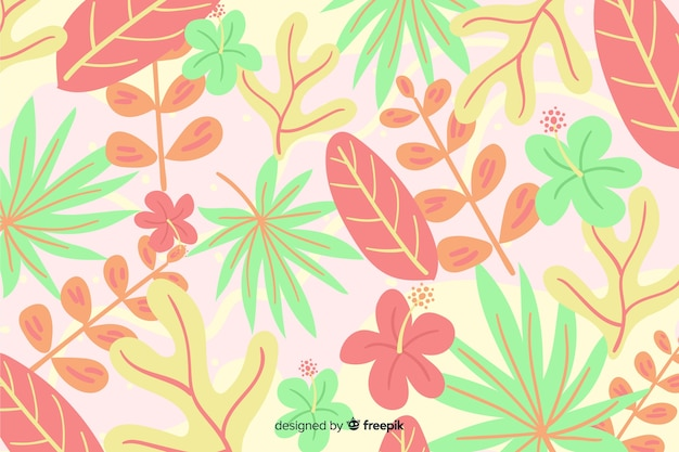 Abstract hand drawn tropical background