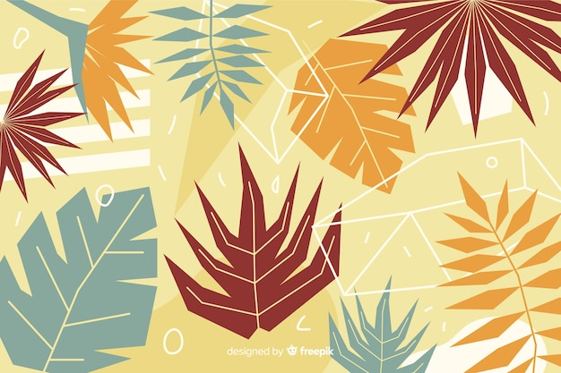 Abstract hand drawn tropical leaves background