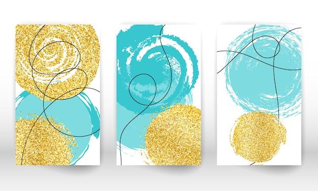 抽象的な手描きの水彩画。現代アートの形。落書きライン、金色の粒子。