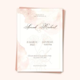 抽象的な手描きの結婚式の招待状