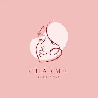 Abstract hand drawn woman logo avatar