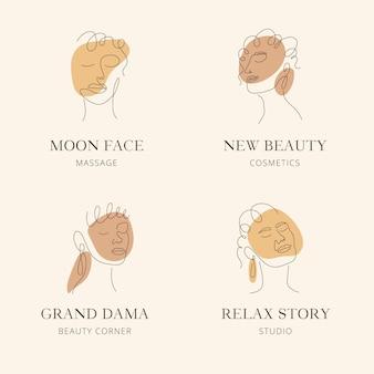 抽象的な手描きの女性のロゴのコレクション