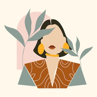 Abstract hand drawn woman portrait illustrated
