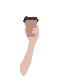 Абстрактная рука, держащая чашку кофе