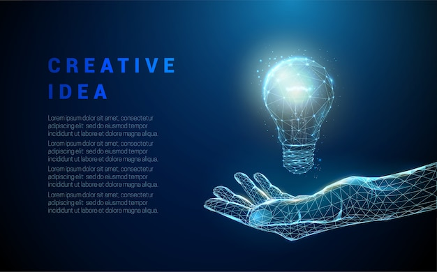 Abstract hand holding light bulb. low poly style design. blue geometric background. wireframe light connection structure.