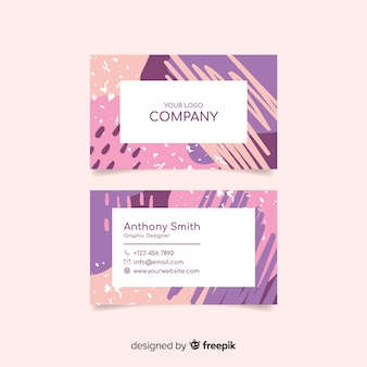 Abstract hand painted business card template