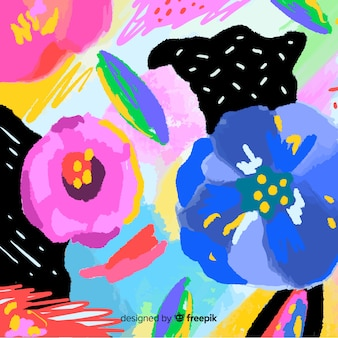 Abstract hand painted floral background