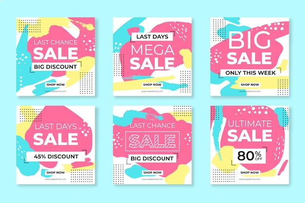 Abstract hand painted sale instagram post pack