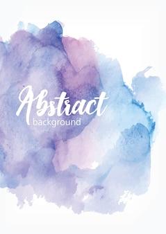 추상 손으로 그린 수채화 배경. 파란색과 보라색 파스텔 색상의 예술적 페인트 얼룩, 얼룩, 얼룩 또는 얼룩. 아름 다운 해당 배경입니다. 우아한 색된 벡터 일러스트 레이 션. 프리미엄 벡터