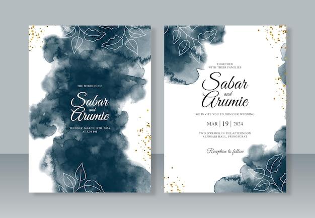 結婚式の招待状のテンプレートの抽象的な手描きの水彩スプラッシュ