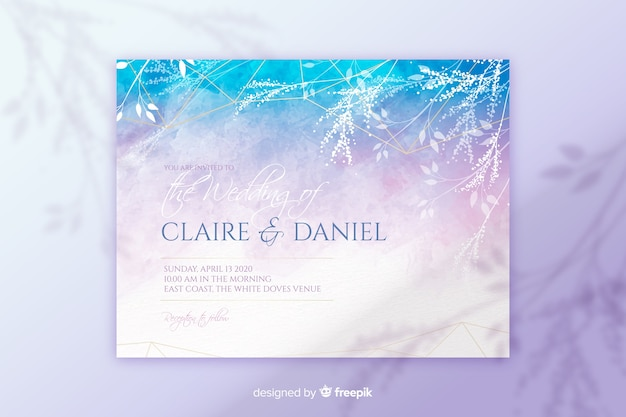 Abstract hand painted wedding invitation template