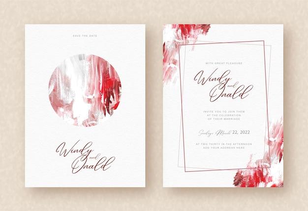 結婚式の招待状の背景に水彩画の抽象的な手描き