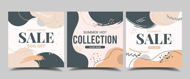 Abstract handdrawn sale instagram post set of editable square banner template