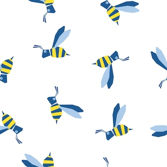 Abstract handmade bee seamless pattern background. childish handcrafted wallpaper for design card, baby nappy, diaper, scrapbook, holiday wrapping paper, textile, bag print, t shirt etc.
