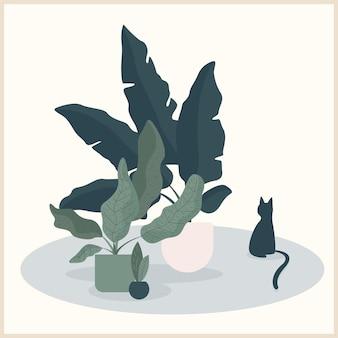 추상 수제 고양이와 식물 그림