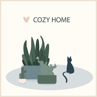 Абстрактная ручная работа кота и растения иллюстрации