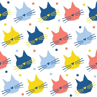 Abstract handmade cat head seamless pattern background. childish handcrafted cat wallpaper for design card, baby nappy, winter menu, holiday wrapping paper, bag print, t shirt etc.