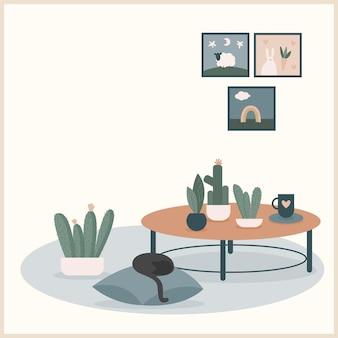 Абстрактная ручная работа кота, подушки и иллюстрации растений