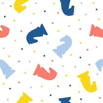 Абстрактный фон ручной шахматы лошадь бесшовные модели. детские обои ручной работы для дизайнерских открыток, детских подгузников, подгузников, альбомов, праздничной упаковочной бумаги, текстиля, принтов на сумках, футболок и т. д.