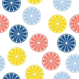 抽象的な手作りの柑橘類は、シームレスなパターンの背景を丸めます。デザインカード、赤ちゃんのおむつ、おむつ、カフェメニュー、休日の包装紙、バッグプリント、tシャツなどの幼稚な手作りの壁紙。