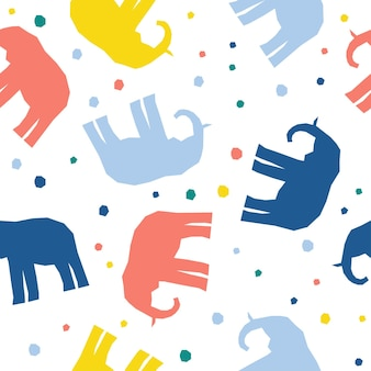 Abstract handmade elephant seamless pattern background. childish handcrafted wallpaper for design card, baby diaper, scrapbook, holiday wrapping paper, textile, bag print, t shirt etc.