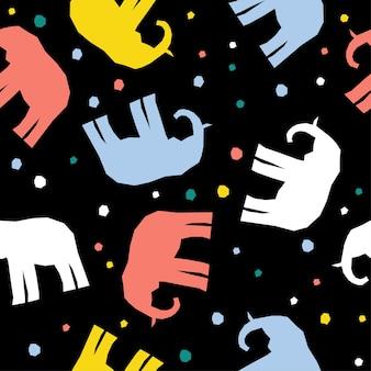 抽象的な手作り象のシームレスなパターンの背景。デザインカード、赤ちゃんのおむつ、スクラップブック、休日の包装紙、テキスタイル、バッグプリント、tシャツなどの幼稚な手作りの壁紙。