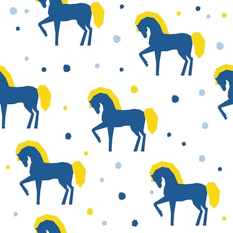 Abstract handmade horse seamless pattern background. childish handcrafted wallpaper for design card, baby nappy, diaper, scrapbook, holiday wrapping paper, textile, bag print, t shirt etc.