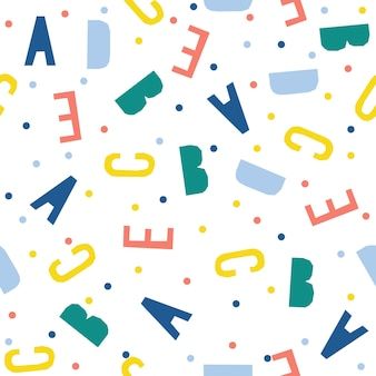 Abstract handmade letter seamless pattern background. childish handcrafted wallpaper for design card, wallpaper, baby nappy, holiday wrapping paper, textile fabric, bag print, diaper, t shirt etc.