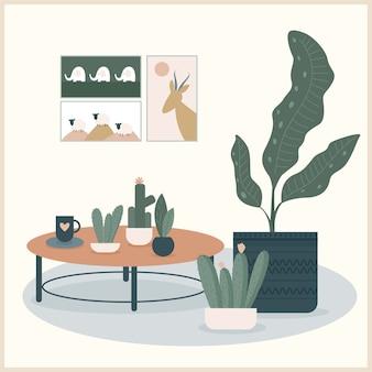 추상 수제 식물 그림입니다. 홈 인테리어 디자인에 사용하기 위해 손으로 그린 식물