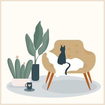추상 수제 식물 그림