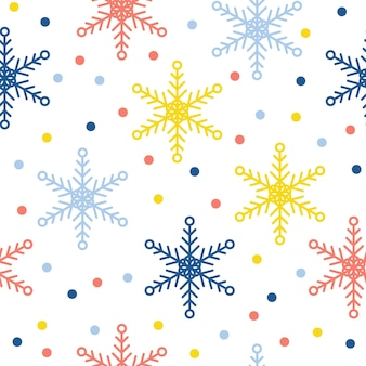 Abstract handmade snowflake seamless pattern background. childish handcrafted snow wallpaper for design card, baby nappy, winter menu, holiday wrapping paper, bag print, t shirt etc.