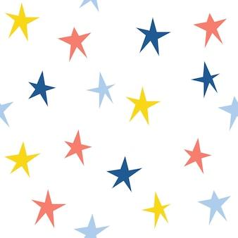 추상 수 제 스타 완벽 한 패턴 배경입니다. 디자인 선물 카드, 생일 벽지, 앨범, 스크랩북, 휴일 포장지, 가방 인쇄, 티셔츠, 아기 기저귀 등을 위한 손으로 그린 표지.