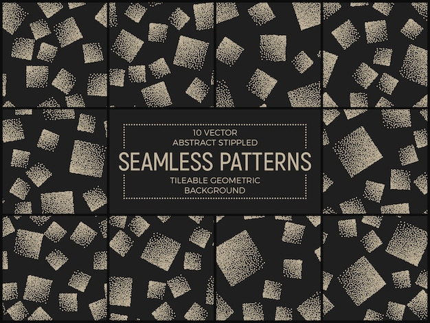 Abstract handmade stippled seamless patterns vector set
