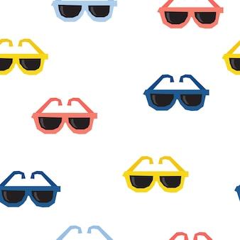 추상 수 제 선글라스 완벽 한 패턴 배경입니다. 디자인 선물 카드, 생일 벽지, 앨범, 스크랩북, 휴일 포장지, 가방 인쇄, 티셔츠, 아기 기저귀 등을 위한 손으로 그린 표지.