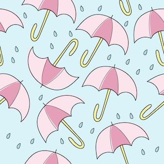 추상 수 제 우산과 드롭 원활한 패턴 배경입니다. 디자인 카드, 아기 기저귀, 기저귀, 스크랩북, 휴일 포장지, 직물, 가방 프린트, 티셔츠를 위한 유치한 수제 벽지