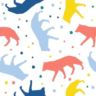 추상 수 제 늑대 원활한 패턴 배경입니다. 디자인 카드, 아기 기저귀, 기저귀, 스크랩북, 휴일 포장지, 직물, 가방 프린트, 티셔츠 등을 위한 유치한 수제 벽지