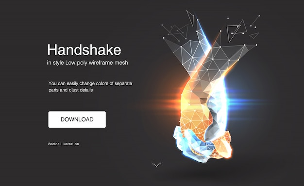 Abstract handshake, gesture of unity or union together,