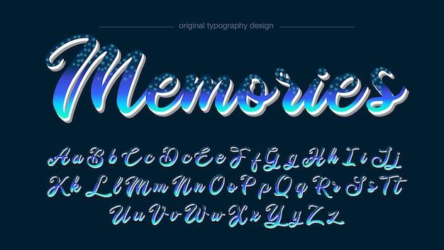 Abstract handwritten blue stars typography