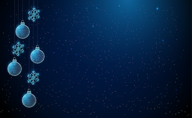 Abstract hanging christmas toys ball and snowflake. low poly style design. abstract geometric background. wireframe light connection structure. modern 3d graphic concept.