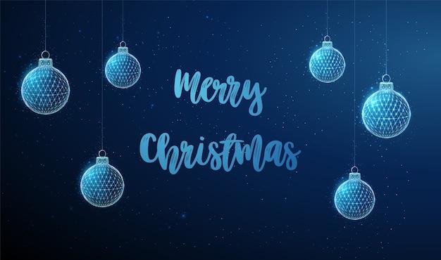 抽象的なぶら下げクリスマスおもちゃ。メリークリスマス。低ポリスタイルのデザイン。抽象的な幾何学的な背景。ワイヤーフレームライト接続構造。現代の3dグラフィックコンセプト。分離。