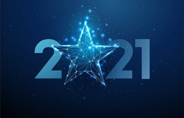 Abstract happy 2021 new year greeting card with blue star. low poly style design. abstract geometric background. wireframe light structure. modern 3d graphic concept. isolated
