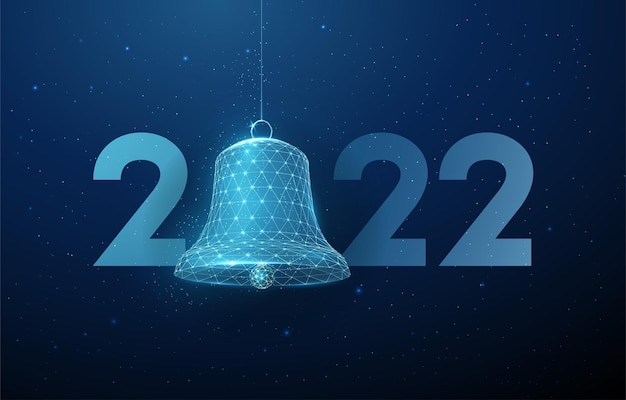 Abstract happy 2022 new year greeting card with bell