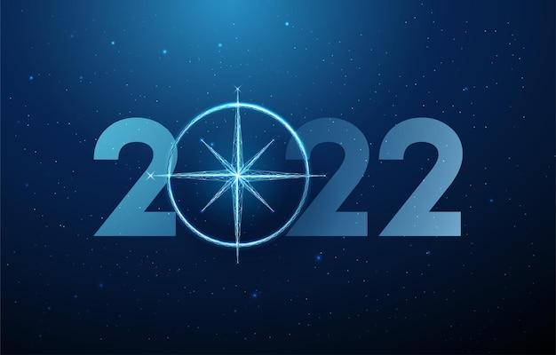 コンパスと抽象的な幸せな2022年新年のグリーティングカード低ポリスタイルデザインベクトルワイヤーフレーム
