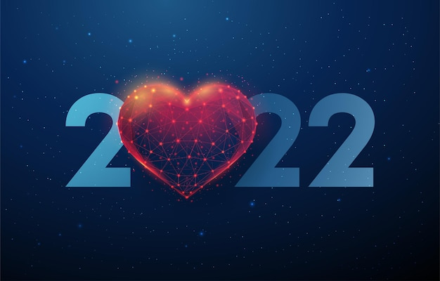 Abstract happy 2022 new year greeting card with heart shape low poly style design abstract geometric